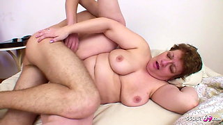Stepson Wakes up BBW Mom to get First Anal Sex with her