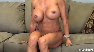 Stacked MILF plays with her nipples, feet and pussy