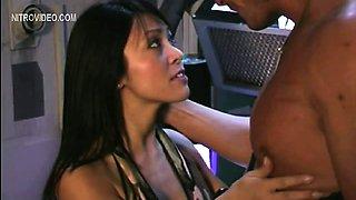 Christine Nguyen having a guy pull her bikini top aside to