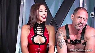 Horny mistress strapon fucks her tied slave