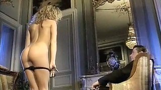 Tall and leggy hottie with curly hair strips for her man and then fucks him