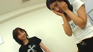 Hot Japanese schoolgirls in femdom action