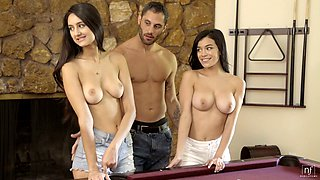Having fun during MFF threesome Latina bitch Savannah Sixx gets poked nice
