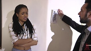 Ebony teen cutie Kira Noir forced to suck dick with her hands tied