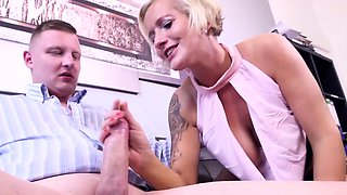 BUMSBUERO - blonde MILF fucks in MMF threesome at the office