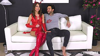 Riley Reid wears a devil's costume while being fucked