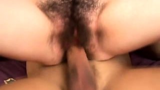 Hairy brunette nympho feeds her passion for wild sex action on the bed
