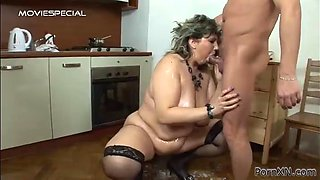 bbw blonde's fucked silly by a horny guy after being oiled up