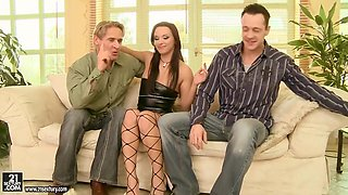Drunk Whore Is Ready For Her Pussy Double Banged By Her Husband And His Friend