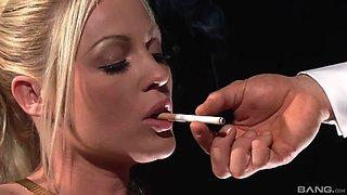 Kinky video with cigar smoking blonde pornstar Cindy Behr