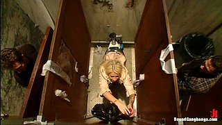 Big Tittied Rich Girl Mercilessly Fucked in a Dirty Bathroom