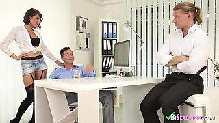 Amazing bisex office threesome