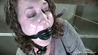 Brutal BBC fucks whorish cunt of nasty tied up chick with ball gag in her mouth hole