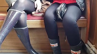 Sexy girl in black opaque pantyhose she touches herself