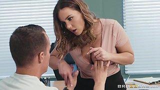 erotic principal gives a sexy titjob