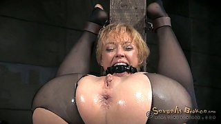 Blonde gagged whore got her holes destroyed by BDSM masters