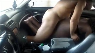 Amateur black couple fucking in the car