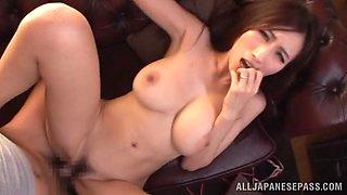 Arousing Japanese doll Julia demonstrates blowjob skills