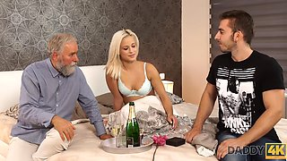 DADDY4K. Sweetie and her boyfriends old dad celebrate their birthday with sex