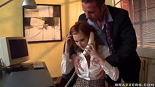 Office-like seduction of whore-secretary