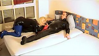 couple has latex sex in boots