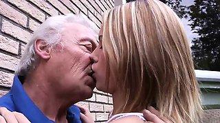 Grandpa fucks teen fingers tight pussy fucks her mouth