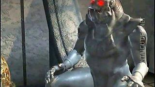 Horny 3D hentai bitch suck a huge penis