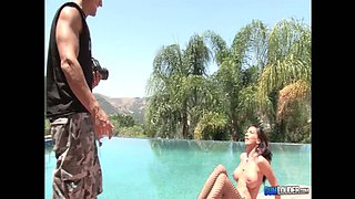 Long-legged brunette Carina Roman playing by the pool and sucking dick