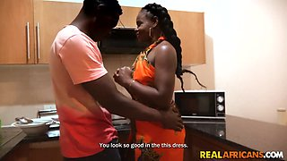 African Beauty Fucked in Kitchen by BBC after dinner