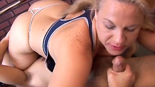 super sexy mature blonde enjoys semen on the face