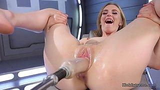 Small tits blonde fucking machine