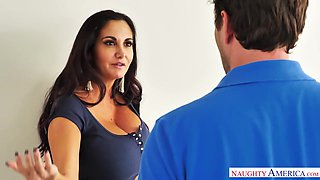 Big titted MILF Ava Addams catches her friend's BF jerking off to her lingerie