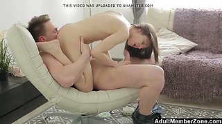 AdultMemberZone - Russian Couple Fucking on the Chair