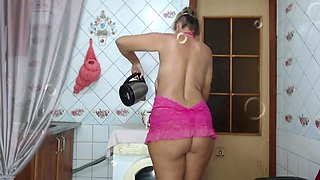 Huge Boobs - Lukerya In Pink Drinks Coffee On The Washing Machine