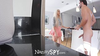 skinny blonde nanny gets what she deserves; a proper fucking