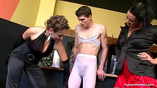 skinny guy gets dominated and abused by two bitches