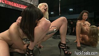 Foursome loving dyke drilled with machine
