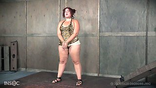 Chubby redhead teen Mimosa bent over and tied up for an abuse